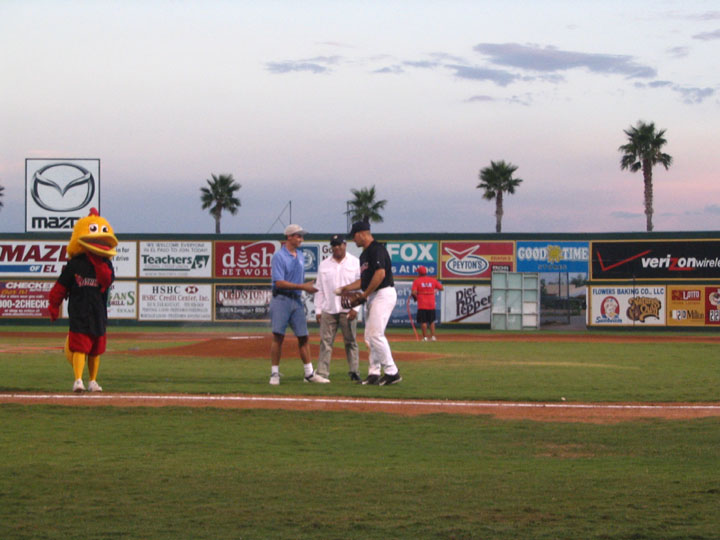 Ross Anderson makes the first pitch at an El Paso Diablos Baseball Game